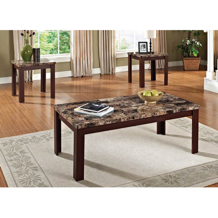 acme furniture finely 3 piece faux marble coffee and end tables brown cherry ebay. Black Bedroom Furniture Sets. Home Design Ideas