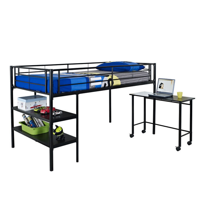 walker edison metal twin loft bed with desk black ebay