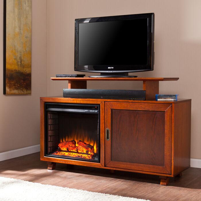 Baku Mid Century Modern Media Stand Built In Electric Fireplace Walnut Espresso Ebay