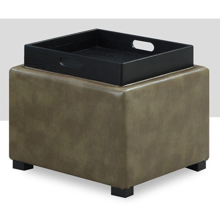 Emerald Home Cube Bonded Leather Storage Ottoman With Wood
