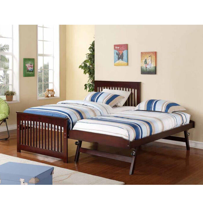 salinas wooden and metal twin bed with pop up trundle rollaway guest bed ebay. Black Bedroom Furniture Sets. Home Design Ideas