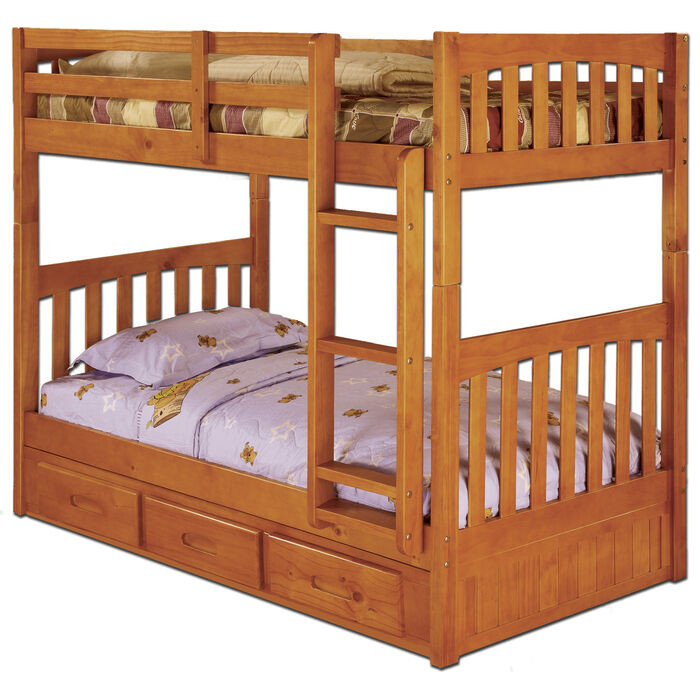 Twin Over Twin Wooden Bunk Bed With 3 Drawer Under Bed