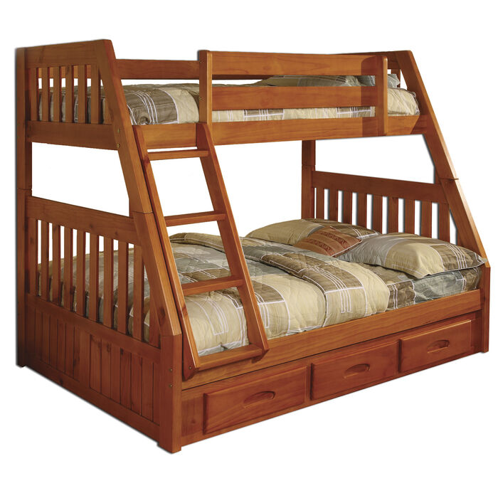 Twin Over Full Wooden Bunk Bed With 3 Drawer Under Bed