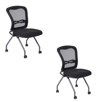 Deluxe Armless Rolling Folding Chair with ProGrid Back - Set of 2