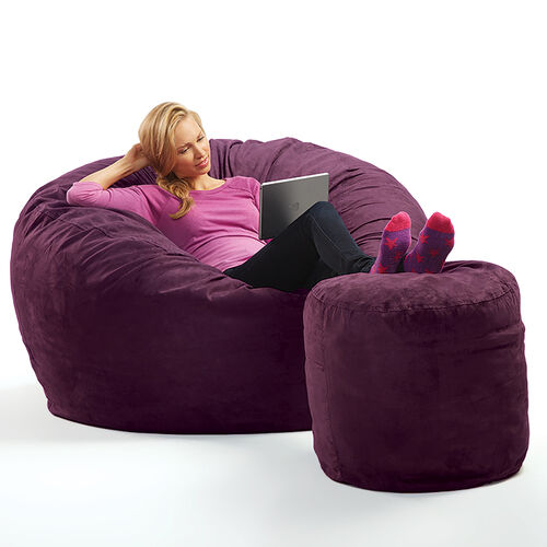 Micro Suede Theater Sack Bean Bag Chair at Brookstone—Buy Now