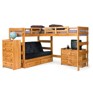 L-Shaped Loft Bed with Futon Bedroom Set