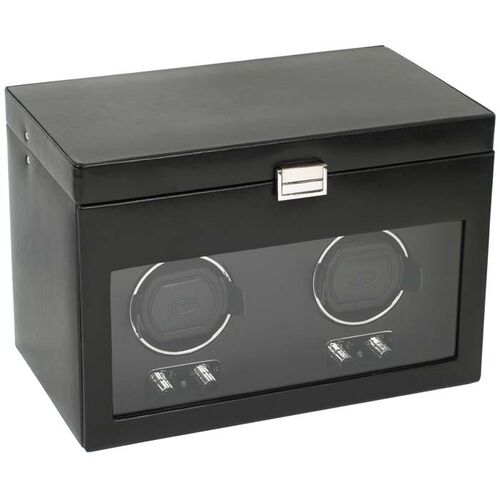 Double Watch Winder with Cover and Storage by Wolf