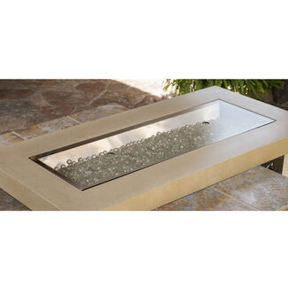 "12""x42"" Burner Crystal FirePit Table Glass Cover"
