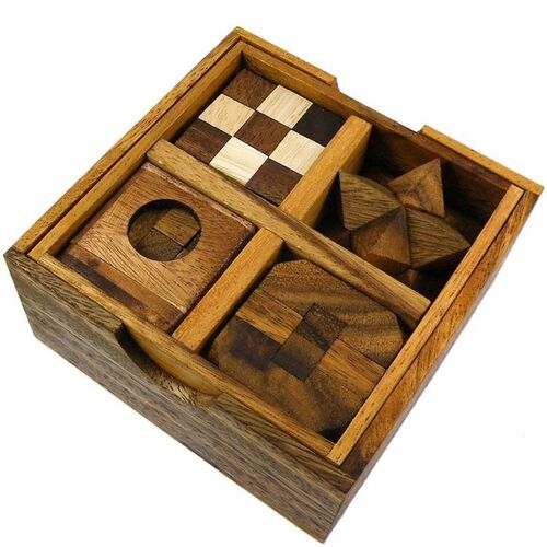 Wooden Puzzle Gift Set - 5 Puzzles