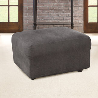 Ultimate Stretch Polyester Faux Leather Box Cushioned Ottoman Slipcover