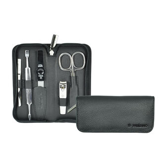 Colours 5 Piece Nickel Plated Nappa Leather Manicure Set