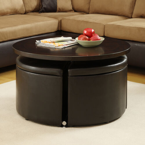 Hydraulic Lift-Top Coffee Table with Ottomans