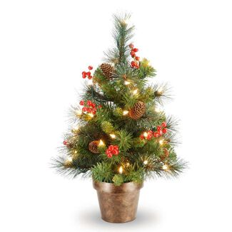 Crestwood Small Artificial Christmas Tree with Plastic Bronze Pot