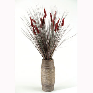 Artificial Tall Onion Grass with Dogstail in Vase