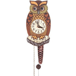Black Forest Owl Clock with Moving Eyes