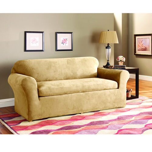 sure fit stretch suede sofa 3 piece bench seat slipcover buy now