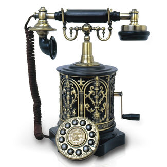 1893 Antique-Style Desk Phone w/ Crank & Elaborate Design