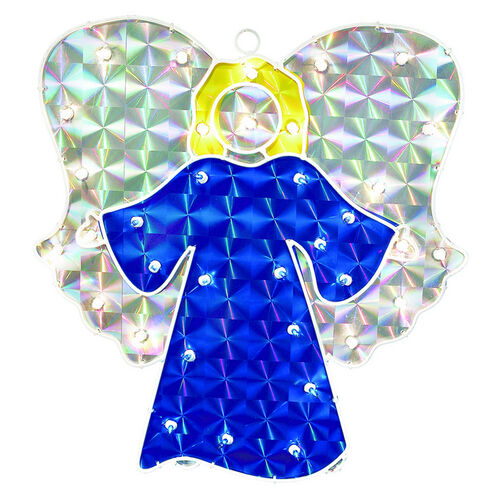 Holographic angel lighted christmas window decoration buy now for Christmas window decorations clearance