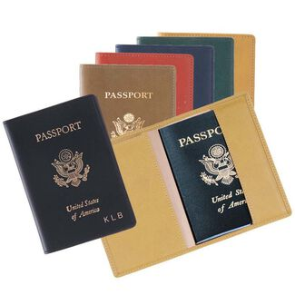 Personalized Royce Milano Feather-Lite Manmade Leather Foil Stamped Passport Jacket