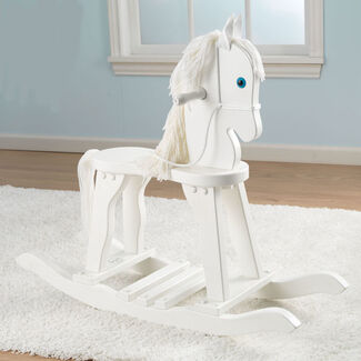 KidKraft Anti-Tip Derby Wooden Rocking Horse w/ Wool Main & Tail