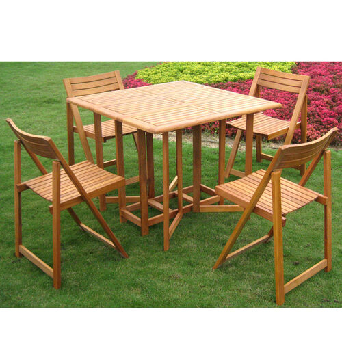 Royal Tahiti Galveston Square Outdoor Stowaway Table Set