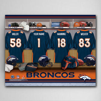 "NFL Denver Broncos 18"" x 24"" Locker Room Canvas Print with 4 Jerseys and Up to 12 Character Personalization for 1 Jersey"
