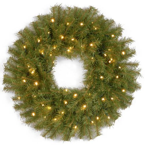 Pre-Lit Norwood Fir Wreath with Concave LED Lights and Timer
