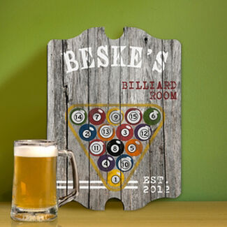 Personalized Vintage Sports Man Cave Pub and Tavern Signs - Billiards