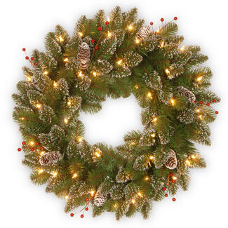 "24"" Glittery Mountain Spruce Wreath with LED Lights & Timer"