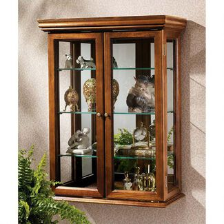 "26"" Country Tuscan-Style Solid Hardwood Mirror-Backed Decorative Wall Curio Cabinet with 3 Glass Shelves and Glass Side Panels"