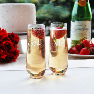 Mr. & Mrs. Stemless Champagne Flutes - Set of 2 by Cathy's Concepts