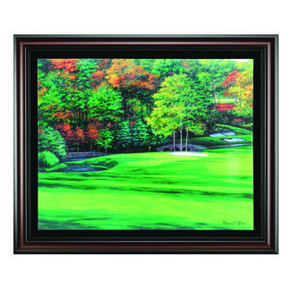 Augusta 11 White Dog Wood Framed Canvas