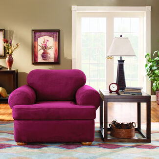 Sure Fit Stretch Suede Chair 2 Piece T-Cushion Slipcover