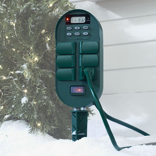 Outdoor Power Stake with Timer at Brookstone—Buy Now