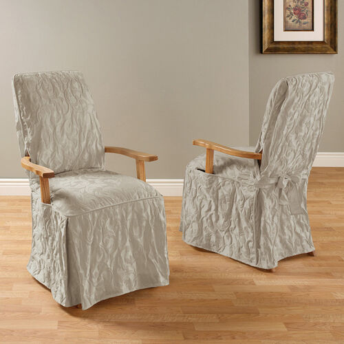 Matelasse Damask Long Arm Dining Room Chair Cover