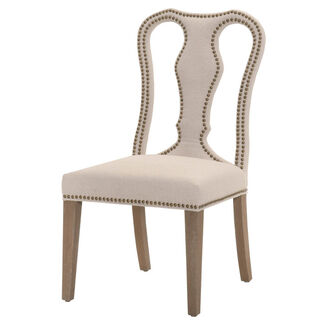 Bloom 2-Piece Fabric Dining Chair with Cut-Out Back Design and Nail Head Trim