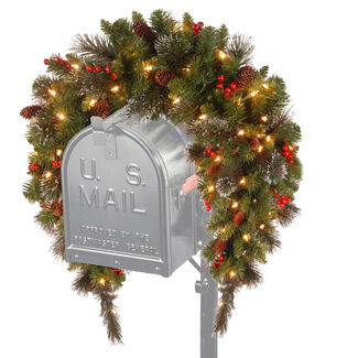 "Crestwood 36"" Spruce Mailbox Cover with Battery Operated LED Lights"