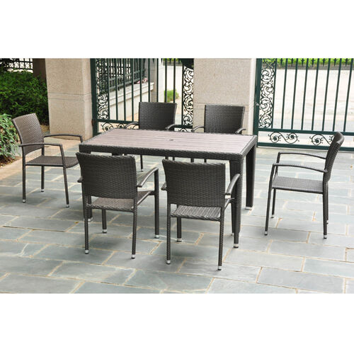 Barcelona Resin Wicker Dining Table & Chairs Set