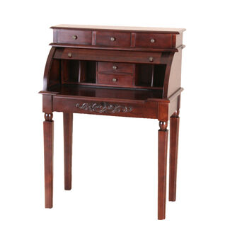 Carved Wood Roll-Top Desk