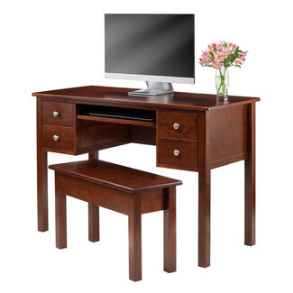 Winsome Emmett Writing Desk with Storage Bench