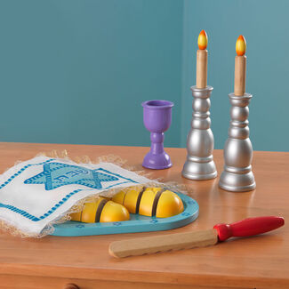 KidKraft Tot Shabbat Sabbath Celebration Set for Kids w/ Wood Challah