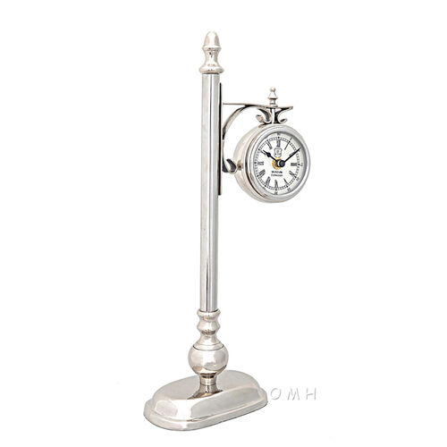 Brass and Aluminum Lamp Post Clock
