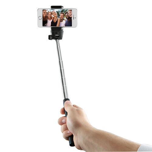 selfie stick with remote shutter at brookstone buy now. Black Bedroom Furniture Sets. Home Design Ideas