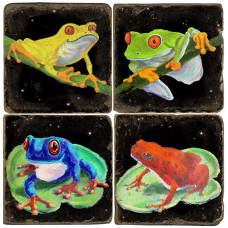 Colorful Frogs Drink Coasters
