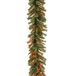 9' Norwood Fir Garland with Battery Operated LED Lights