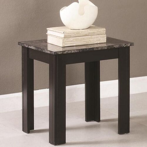 Wood Vs Marble Coffee Table Set: 3-Piece Wood Coffee And End Table Set With Faux Marble Top
