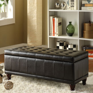 Home Creek Elegant Faux Leather Tufted Storage Bench