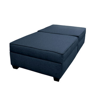 Convertible Polyester Fabric Upholstered Twin Size Solid Wood Ottoman Bench-to-Bed with Storage Space