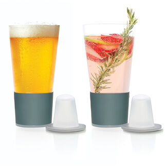 Dimple Self-Chilling Beer Glasses - Set of 2
