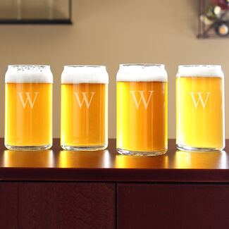 Personalized Craft Beer Can Glasses 4 Piece Set By Cathy's Concepts